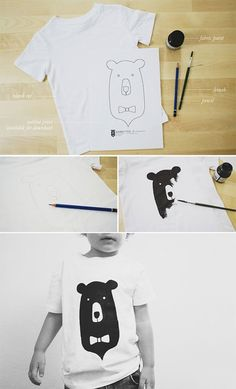 DIY Bear Kiddo Tee, Cool T-shirt Crafts for Kids and Teens, tshirt,handmade,craft,diy,upcycle,recycle crafts for kids