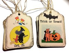 Halloween Goodie Bag Tags Hang Tags by TaunyasButtonsnBows on Etsy