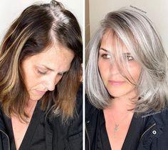 Long Gray Hair, Silver Grey Hair, Dark Hair, Silver Color, White Hair, Blonde Hair Going Grey, Dying Hair Grey, Grey Brown Hair, Grey Hair Transformation