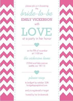 bridal shower invitations aqua and pink chevron bridal shower invite