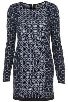 TOPSHOP  Knitted Tile Jacquard Dress
