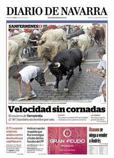 Portada de Diario Navarra del 12 julio. La suerte de no tener pantalón con hebillas anchas.