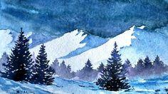 Snowy Pine Tree Painting Snow 37 Ideas For 2019 Watercolor Landscape Paintings, Watercolor Trees, Landscape Drawings, Cool Landscapes, Landscape Art, Simple Watercolor, Mountains Watercolor, Pastel Landscape, Watercolor Landscape Tutorial