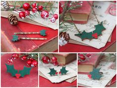 Collier en bois Christmas Holly par GingerPickle1 sur Etsy