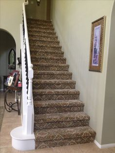 Stairs Almost Fully Carpeted, One Side Painted. Interesting Pattern Idea On  Only Stairs.