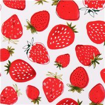white strawberry fruit fabric Robert Kaufman Metro Market