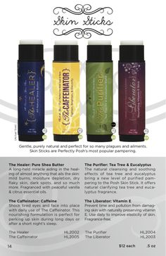 All of our awesome skin sticks! NEW - The Caffeinator. #perfectly #posh www.poshing4you.com