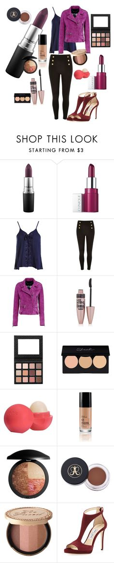"""""""Susannah Simon Inspired"""" by jelly12-861 ❤ liked on Polyvore featuring MAC Cosmetics, Clinique, Sans Souci, Barbara Bui, Maybelline, Eos, Too Faced Cosmetics, Jimmy Choo, InspiredOutfit and MegCabot"""