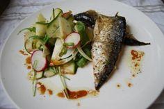 Pannestekt makrell med fennikelsalat og fikendressing