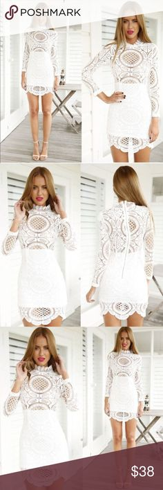 "Crochet Lace Dress Absolutely breathtaking dress with intricate crochet lace detail with scalloped hem! The top portion is see through, and the bottom is lined. US Xs (Asian S)-bust 32-33"", waist: 24"", hip 34"". US S (Asian M)- bust 34"", waist 25"", hip 36"".          US M (Asian L)- bust 36"", waist 28"", hip 38 Dresses Mini"