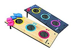 Enjoy two games in one with the Triumph Sports 2-in-1 3 Hole Bags and Washer Toss Combo. Two classic yard games combine in this set, offering hours of bean bag and washer tossing fun. Just flip the board and reattach the legs for your choice of washer toss or bean bag toss. The colorful board makes it easy to see different point zones and target areas, while nets capture bags and washers with ease.