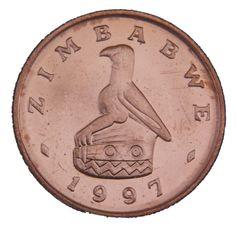 1 Cent #Zimbabwe - 1989-1999 Raffigura un grande uccello dello Zimbabwe, che è il simbolo della nazione.