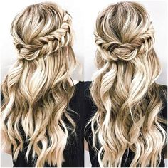 Down hairstyles for medium hair - - lange haare halboffen Down hairstyles for medium hair Wedding Hair Down, Wedding Hair And Makeup, Hair Down For Prom, Curly Hair For Prom, Hair For Homecoming, Prom Makeup, Homecoming Ideas, Homecoming Hair Tutorials, Formal Hair Down