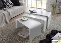 Furniture In Fashion Carlene Wooden Nest Of Tables In Matt White White Furniture, Outdoor Furniture Sets, Lcd Tv Stand, Types Of Rooms, Furniture Catalog, Nesting Tables, Solid Oak, Space Saving, Modern Contemporary
