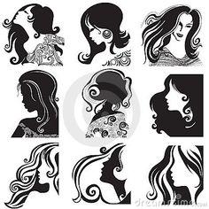 Free zentagle faces   Conjunto Del Vector De La Silueta - Mujer Hermosa Fotos de archivo ...
