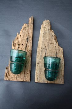 Set of Two Barn Wood Rustic Reclaimed Candle by timelessjourney -- I could do this... looks like the glass insulators from power lines...