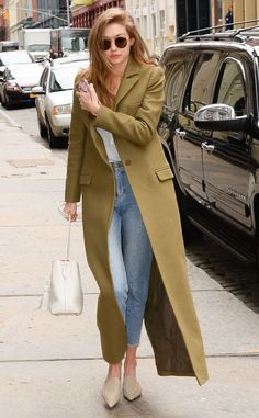 Gigi Hadid in an olive green Zimmerman coat, Mansur Gavriel white bucket bag and.,Gigi Hadid in an olive green Zimmerman coat, Mansur Gavriel white bucket bag and Sunday Somewhere ro. Look Fashion, Fashion Models, Winter Fashion, Fashion Trends, 2000s Fashion, Fashion News, Mens Fashion, Looks Style, My Style