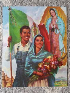 Vintage arte calendario mexicano  Virgen Guadalupe - aprox. 1940, autor desconocido - de por MexiClacla en Etsy