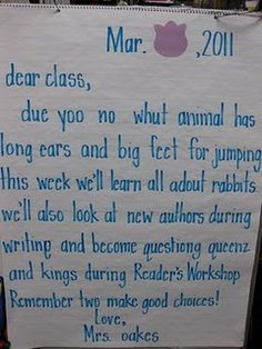 morning message for the week...I hope the teacher did this to teach spelling, or he/she should be fired!!!