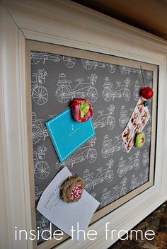 family message center magnet board covered in Vintage Traveler fabric by Patty Sloniger