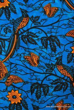 Birds on Blue African Print fabric