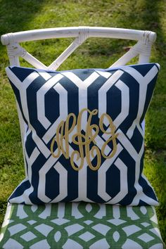 Monogrammed P. Kaufmann Trellis Print Pillow: Lil and Gaines