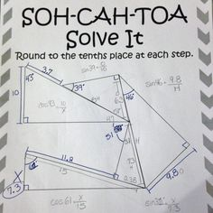 SOH-CAH-TOA Solve It. This is a set of 3 trigonometric ratio puzzles. Students must start at the only given complete side and use their knowledge of sine, cosine, and tangent to correctly solve for x.