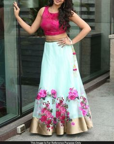 Net+Machine+Work+Blue+Semi+Stitched+Bollywood+Designer+Lehenga+-+LM02 at Rs 1399