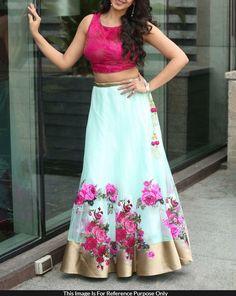 Net+Machine+Work+Blue+Semi+Stitched+Bollywood+Designer+Lehenga+-+LM02 at Rs 1399