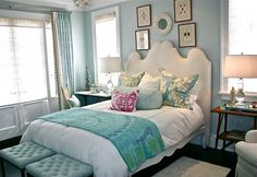 Beautiful colors and pretty room...your color scheme with one subtle pop on the pillow