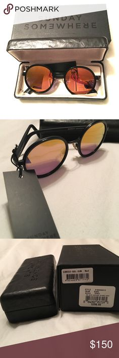 Sunday Somewhere Ned Round Sunglasses New with tags! Never been worn Sunday Somewhere sunglasses. Black round sunglasses with mirror gold lenses. Original MSRP $290. Comes with original case, lens cloth and box. Sunday Somewhere Accessories Sunglasses