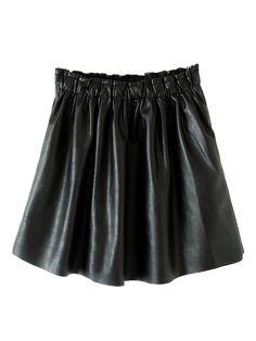 Black PU Skater Skirt With Rawed Edge