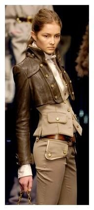 Dolce & Gabbana  steampunk fashion  cropped jacket, vest, brass buttons, trousers with large pockets