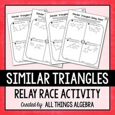 Parallel Lines Cut by a Transversal Relay Races Teaching Geometry, Geometry Activities, Teaching Math, Math 2, 8th Grade Math, Math Class, Similar Triangles, Network Drive, Relay Races