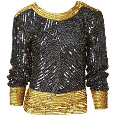 For Sale on - Yves Saint Laurent, iridescent, bugle beaded and sequined on silk top. Black body with gold cuffs, neckline and waistline. Sleeves are dolman shape. Yves Saint Laurent Designer, Gold Sequin Top, Fashion Sites, Women's Fashion, Dolman Top, Beaded Gown, Bugle Beads, Embellished Top, Blouse Vintage