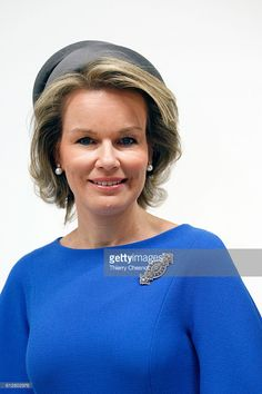 Queen Mathilde of Belgium poses at the Centre Pompidou modern art museum on October 5, 2016 in Paris, France. Queen Mathilde visits the exhibition 'La trahison des images' (The Treachery of Images) on Belgian surrealist painter Rene Magritte (1898-1967).  (Photo by Thierry Chesnot/Getty Images)