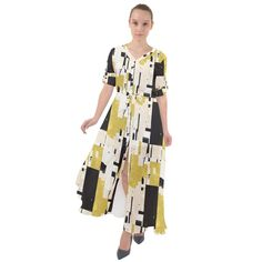 Abstract Scraps Yellow Maxi Dress Yellow Maxi Dress, Tribal Prints, Chiffon Fabric, Boho Dress, Cover Up, Tie, Abstract, Outfits, Dresses