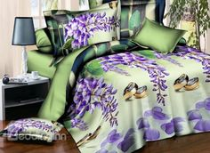 Noble Purple Flower and Ring Print 4-Piece Polyester #3D Duvet Cover #bedroom #bedding