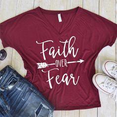 Faith over Fear Tee Vinyl Pineapple Tee Shirt Flowy Tank