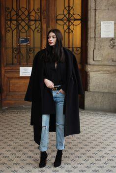 Moye silk shirt, Levi's 501 CT jeans, Porte Privé blazer, COS coat, Gucci belt, Gianvito Rossi boots