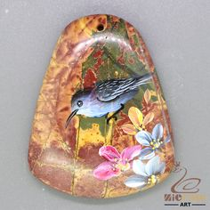 Beautiful Pendant Hand Painted Bird Natural Gemstone Stone necklace ZL805918 #ZL #Pendant