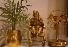 Brass artifacts Indian Inspired Decor, Indian Home Decor, Indian Decoration, Tv Stand Designs, Small Backyard Gardens, Lord Ganesha, My Dream Home, Decorative Items, Decorating Your Home