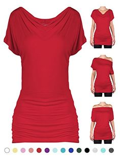 2005 SEJORA Convertible Short Sleeve Dolman Tunic Top  Red Large ** Visit the image link more details.