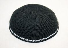 kippah black with grey stripe by crochetkippah on Etsy,