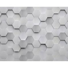 This honecomb wall mural has a textured stainless steel style. The flat design uses highlights and shadows to create a dimensional look. Metal Hexagons Wall Mural comes on 6 panels. Size: 118 inch x 98 inch. Vinyl Wall Panels, Wood Panel Walls, 3d Textured Wall Panels, 3d Panels, Embossed Wallpaper, Wallpaper Panels, Hexagon Wallpaper, Wallpaper Roll, Vinyl Wallpaper