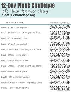 Plank Challenge, Free Printable, Challenge Log