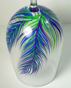 Set of 2 Feather Wine Glasses  Peacock by MelissaWynneDesigns, $32.00