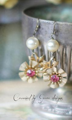 Pearl Flower Drops  vintage assemblage earrings pink