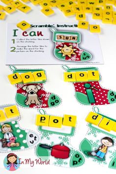Christmas Stocking - building CVC words. A great center activity to make learning fun and engaging during the festive season!