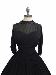 1950's Illusion Chiffon Dress